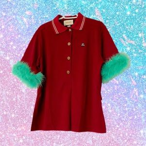 🔥 Gucci Marabou Feather Detailed Polo Shirt